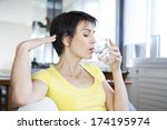 woman with hot flush | Shutterstock . vector #174195974