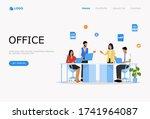 people in open space office... | Shutterstock .eps vector #1741964087