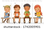 cyberbullying concept. girls... | Shutterstock .eps vector #1742005901