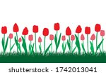 red and pink tulips flowers in... | Shutterstock .eps vector #1742013041