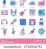 music icons including recording ... | Shutterstock .eps vector #1742016791