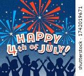 retro happy 4th of july design... | Shutterstock .eps vector #1742019671