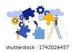 puzzle together concept... | Shutterstock . vector #1742026457