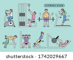 people are exercising with...   Shutterstock .eps vector #1742029667
