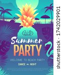colorful summer disco party... | Shutterstock .eps vector #1742029901