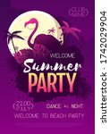 colorful summer disco party... | Shutterstock .eps vector #1742029904