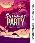 colorful summer disco party... | Shutterstock .eps vector #1742029907