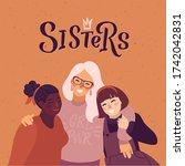 happy women or girls standing... | Shutterstock .eps vector #1742042831