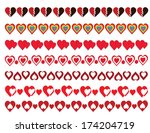 hearts borders pack  | Shutterstock .eps vector #174204719