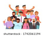 crowd of people banner  age and ...   Shutterstock .eps vector #1742061194