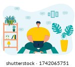 a young overweight male... | Shutterstock .eps vector #1742065751
