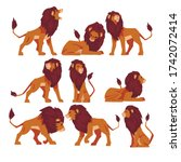 proud powerful lion collection  ... | Shutterstock .eps vector #1742072414