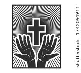 hands with shining holy cross.... | Shutterstock .eps vector #1742094911