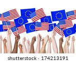 eu and americain flags | Shutterstock . vector #174213191