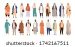 set of arabic man and woman in... | Shutterstock .eps vector #1742167511