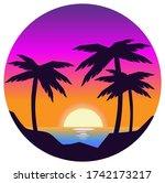 vector evening beach landscape... | Shutterstock .eps vector #1742173217
