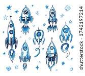 hand drawn vector space rocket... | Shutterstock .eps vector #1742197214