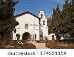 Front view of San Juan Bautista Mission - stock photo