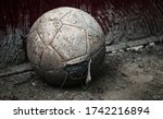 old shabby soccer ball with a...   Shutterstock . vector #1742216894