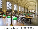 BOSTON, MA - APRIL 7, 2012: Interior of Boston Public Library. The library was the first publicly supported municipal library in the United States. - stock photo