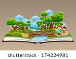 book,boy,bridge,cartoon,children,clip-art,clipart,drawing,education,female,forest,girl,illustration,jungle,kids