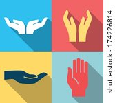 flat design icon set of hands... | Shutterstock .eps vector #174226814