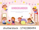 children play together in... | Shutterstock .eps vector #1742280494