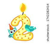 happy second birthday candle... | Shutterstock . vector #1742282414