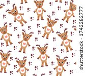 cute cartoon reindeer seamless... | Shutterstock . vector #1742282777