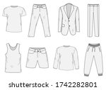 clothing set sketch. men's... | Shutterstock . vector #1742282801