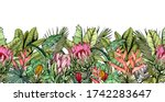endless horizontal border with... | Shutterstock .eps vector #1742283647