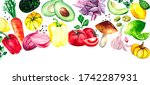 collection of fresh fruits and... | Shutterstock . vector #1742287931