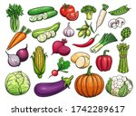 hand drawn vector vegetables... | Shutterstock .eps vector #1742289617