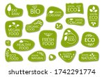 eco green logo label with... | Shutterstock .eps vector #1742291774