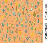 cactus seamless pattern on...   Shutterstock .eps vector #1742313431