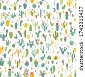 cactus seamless pattern on... | Shutterstock .eps vector #1742313437