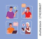 internet communication  network.... | Shutterstock .eps vector #1742338637