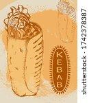 vector sketch doner kebab in... | Shutterstock .eps vector #1742378387