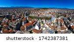 Wide panoramic view  of Trikala city, Greece