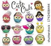 set of cute cartoon owls on a... | Shutterstock . vector #1742408444