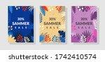summer sale posters set. trendy ... | Shutterstock .eps vector #1742410574