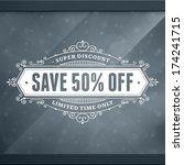 window advertising sale 50  off ... | Shutterstock .eps vector #174241715