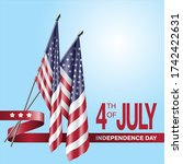realistic 3d us flags and red... | Shutterstock .eps vector #1742422631