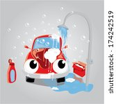 vehicle taking car wash shower. ... | Shutterstock .eps vector #174242519