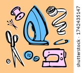 sewing   set. doodle kit for... | Shutterstock . vector #1742435147