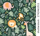 Cute Jungle Animals And Leaves...