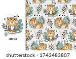 leopard cute jungle baby animal ... | Shutterstock .eps vector #1742483807