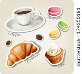 Vector set of stylized food icons. Coffee cup, macaroons, coffee beans, croissant and cake are in the set. - stock vector