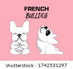 two french bulldogs making yoga ... | Shutterstock .eps vector #1742531297