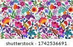 seamless floral pattern with... | Shutterstock .eps vector #1742536691
